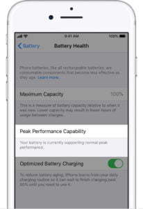 ios13 iphone7 settings battery health normal peak performance