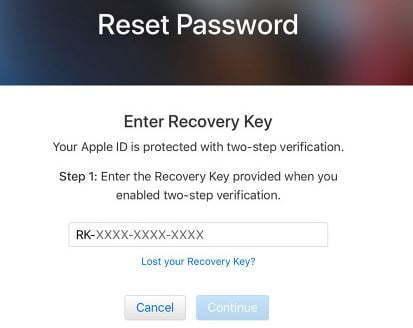 appleid recovery key فراموشی رمز عبور اپل آیدی